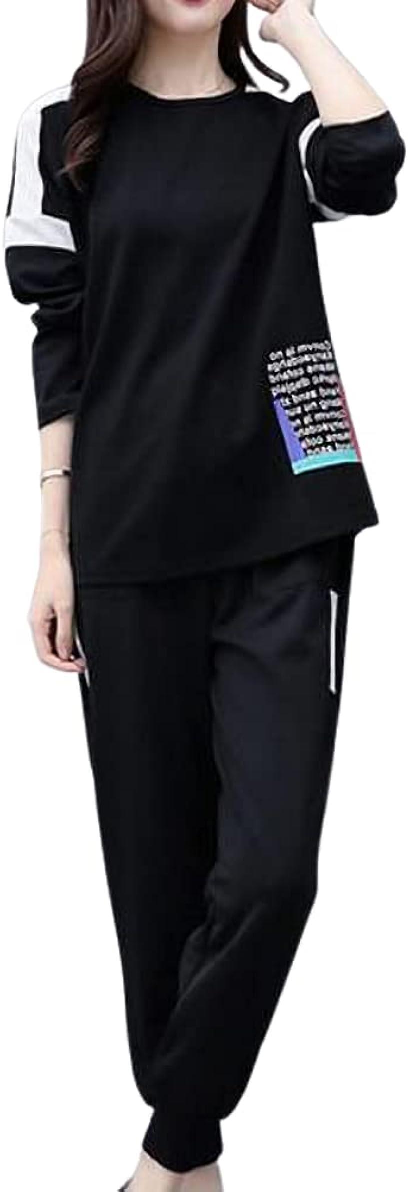 emptio タイムセール エンプティオ 長袖 オシャレ 贈物 上下セット スエット ブラック パンツ レディ―ス S #ブラック セットアップ
