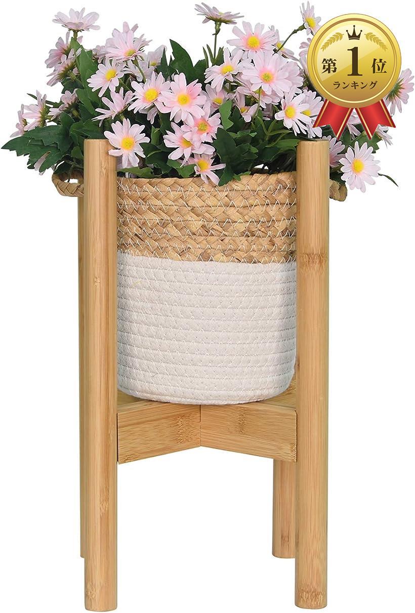 MORIFUKU  フラワースタンド 花台 鉢スタンド 植木鉢台 幅24-35cmまで調整可能 100KG耐荷重 屋外室内 ガーデニング 竹製 オシャレ 北欧風 家装飾 組み立て簡単 MDM