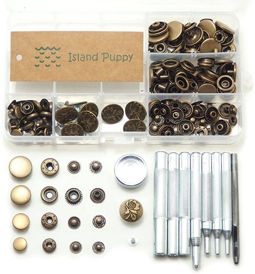 Puppy セール特価 現金特価 Craft Island 選べるカラー バネ ホック ジャンパー 4サイズ + 打ち具 レザークラフト 工具 アンティークゴールド