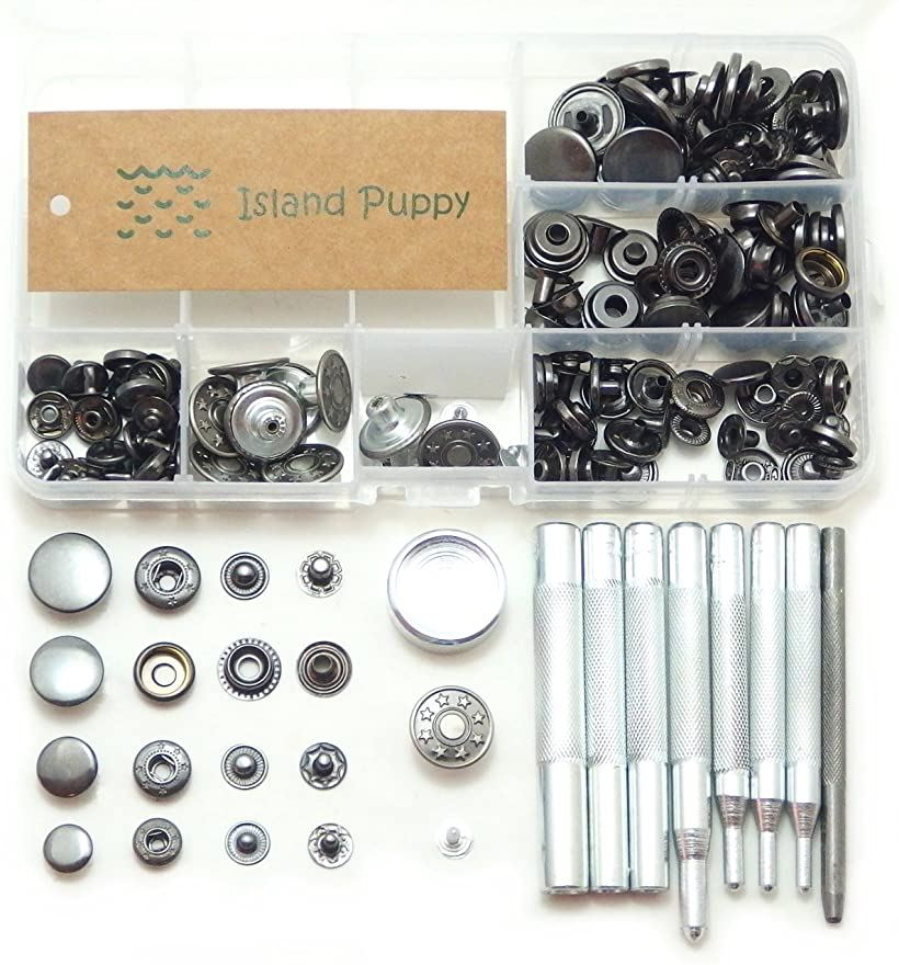 Puppy Craft Island 選べるカラー バネ ホック 2020 新作 ジャンパー 新発売 4サイズ + 工具 打ち具 レザークラフト ブラック