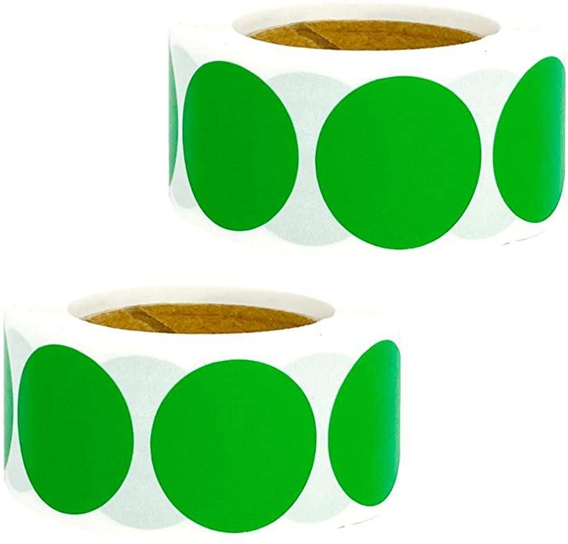 Sweet+ ステッカー シール 円形 丸型 ロール カラー ラベル 1000枚 オーバーのアイテム取扱☆ 学校 識別 オフィス 注目ブランド ラッピング 封印 店舗用 緑