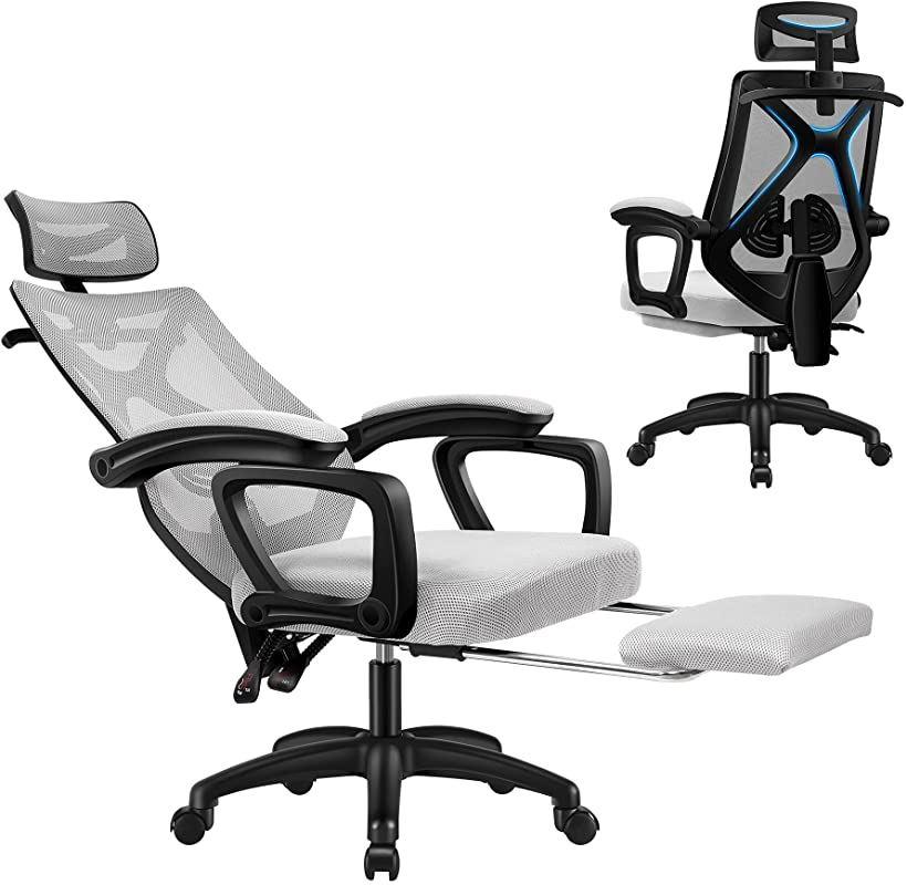 Donext オフィスチェア 椅子 デスクチェア メッシュ 連動式アームレスト フットレスト付き ヘッドレスト オットマン付き リクライニング 人間工学 360度回転 Gray 通気性 ひじ掛け付き お見舞い まとめ買い特価 グレー