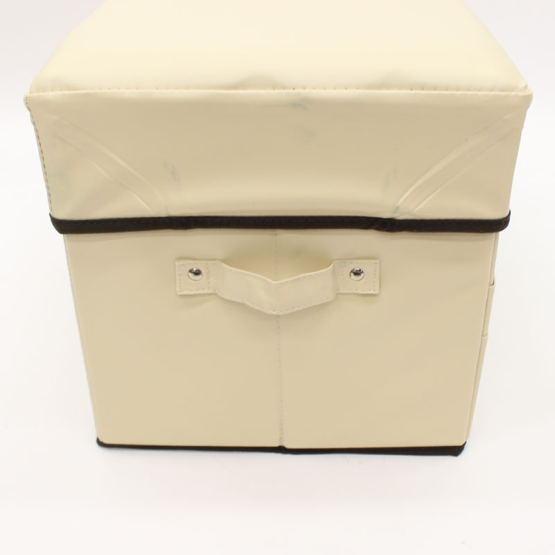 レザー調スツールBOX アイボリー Mサイズ N-8106【お片付けBOX/収納ボックス/椅子/チェア/小物入れ/インテリア/座れる収納】