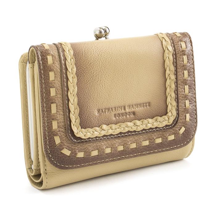 キャサリンハムネット KATHARINE HAMNETT LONDON 財布 二つ折り財布 がま口財布 ベージュ khp083-90 レディース 婦人