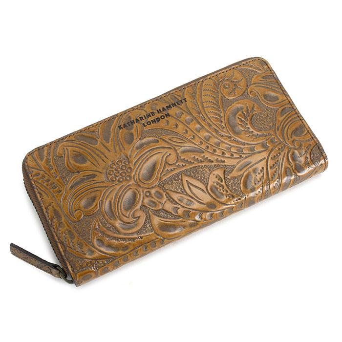 展示品箱なし キャサリンハムネット 財布 長財布 ラウンドファスナー 茶 KATHARINE HAMNETT LONDON khp345-70 レディース 婦人