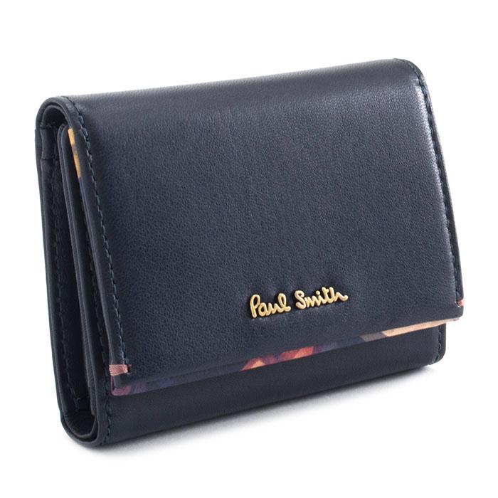 ポールスミス 財布 三つ折り財布 ネイビー Paul Smith pwu763-30 レディース 婦人