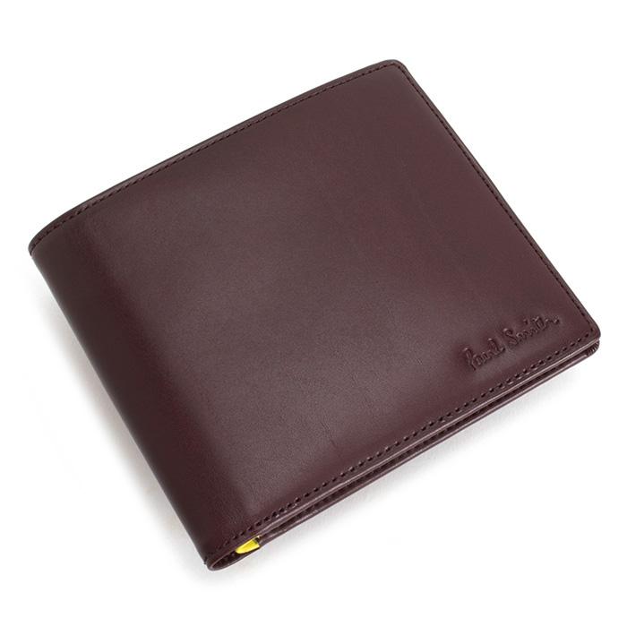 展示品箱なし ポールスミス 財布 二つ折り財布 カード&札 ワイン Paul Smith psc044-80 メンズ 紳士 【送料無料】