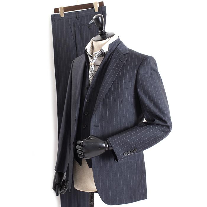 ティノラス スーツ ストライプスーツ スリーピース TENORAS 濃紺(ネイビー) te6053 メンズ 紳士