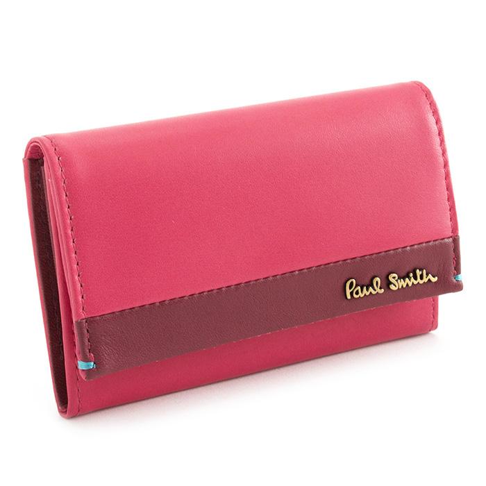 ポールスミス 名刺入れ カードケース ピンク(ローズっぽい濃いピンク系です。) Paul Smith pwu652-24 レディース 婦人 【送料無料】