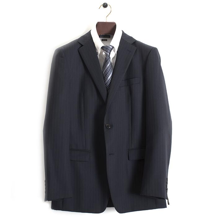 訳あり 展示品 コムサメン スーツ 50Cサイズ ストライプスーツ COMME CA MEN 紺(ネイビー) 0712sk14-09 b メンズ 紳士