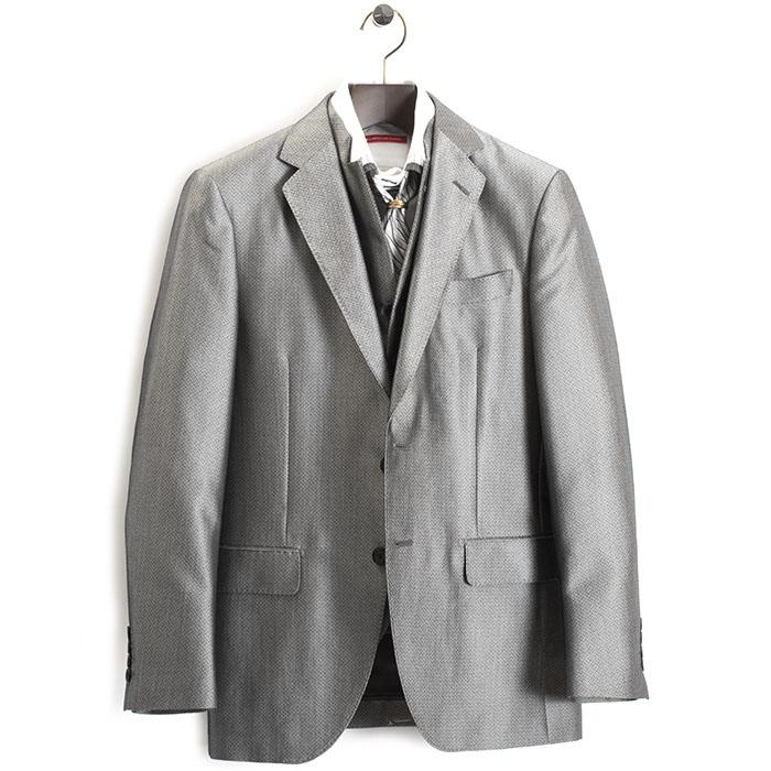 展示品 ティノラス スーツ Sサイズ シングルスーツ スリーピース TENORAS 灰・光沢あり(グレー) te7056 メンズ 紳士