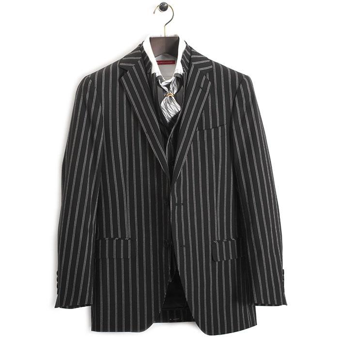 展示品 ティノラス スーツ Mサイズ ストライプスーツ スリーピース TENORAS 黒(ブラック) te7060 メンズ 紳士