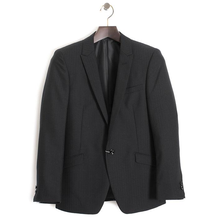 展示品 ニコルクラブフォーメン ジャケット 44(Sサイズ相当) ストライプジャケット NICOLE CLUB FOR MEN 黒・微光沢(ブラック) 14642500-49 メンズ 紳士