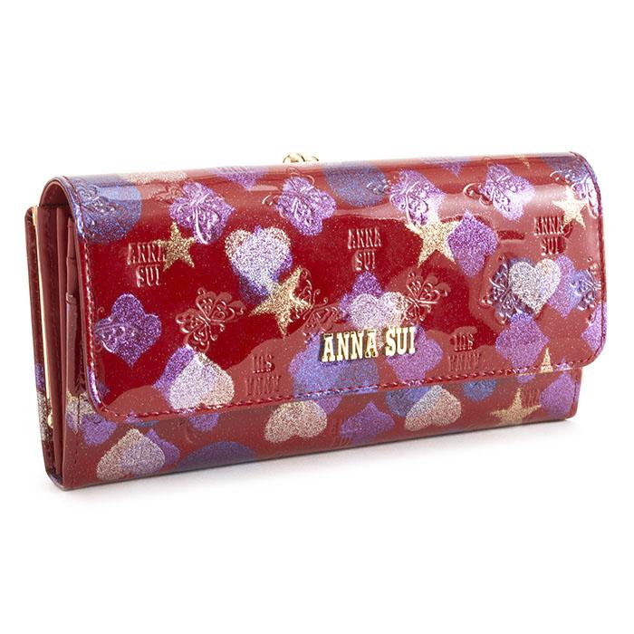 アナスイ 財布 長財布 がま口財布 赤(レッド) ANNA SUI 313050-30 レディース 婦人 【送料無料】