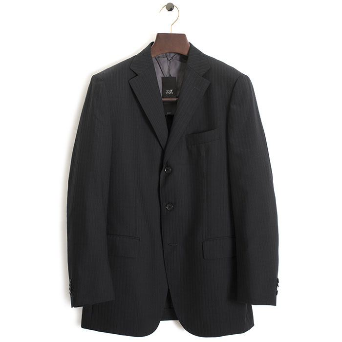 展示品 23区 ジャケット 50(LL 相当) ストライプジャケット 23区HOMME 黒(ブラック) km0201-275 メンズ 紳士