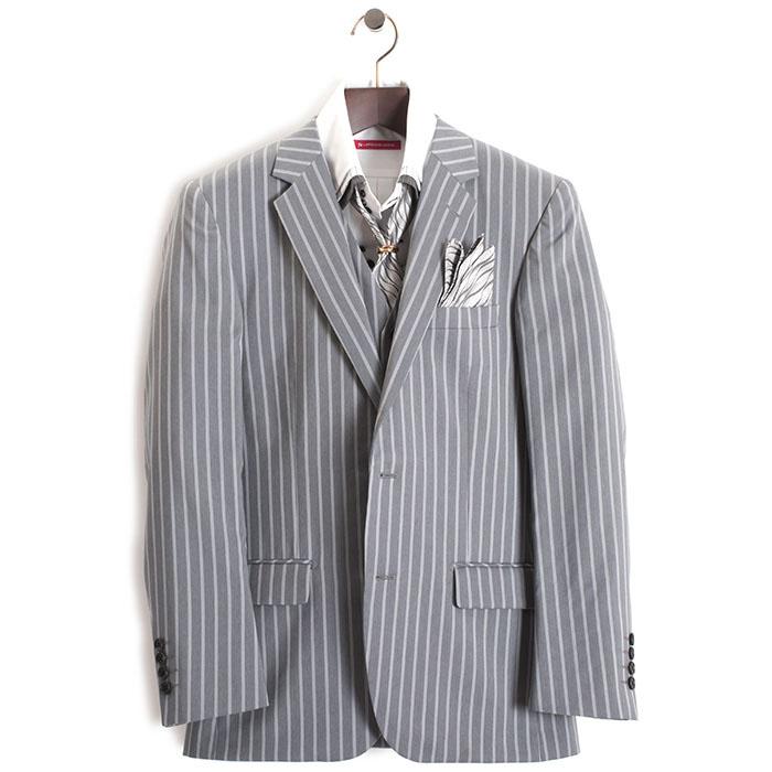展示品 ティノラス スーツ Sサイズ ストライプスーツ スリーピース TENORAS 灰(グレー) te3022 メンズ 紳士