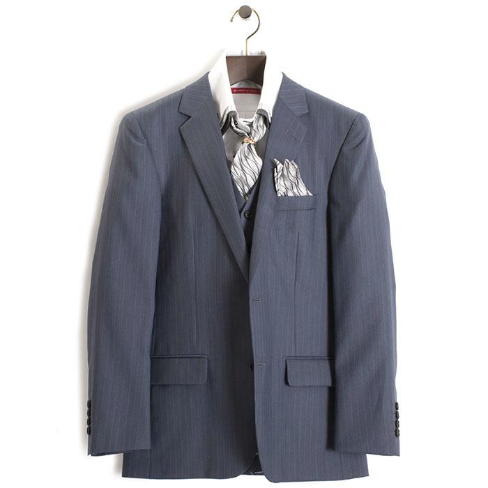 展示品 ティノラス スーツ LLサイズ ストライプスーツ スリーピース TENORAS 灰・青みがかっています(グレー) te3023 メンズ 紳士