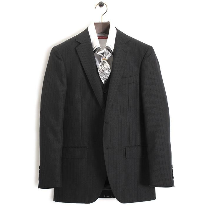 展示品 ティノラス スーツ Mサイズ ストライプスーツ スリーピース TENORAS 黒・微光沢(ブラック) te5014 メンズ 紳士