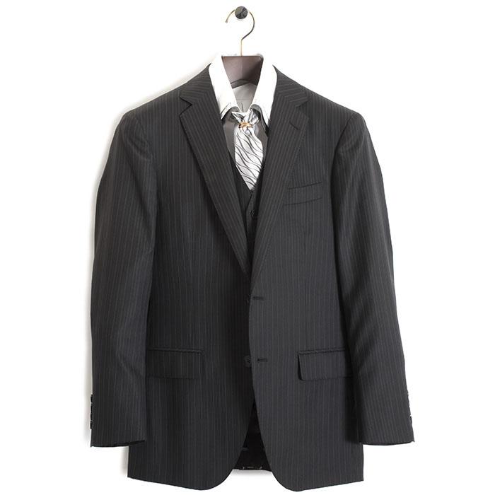 展示品 ティノラス スーツ Lサイズ ストライプスーツ スリーピース TENORAS 濃灰・微光沢(グレー) te5019 メンズ 紳士