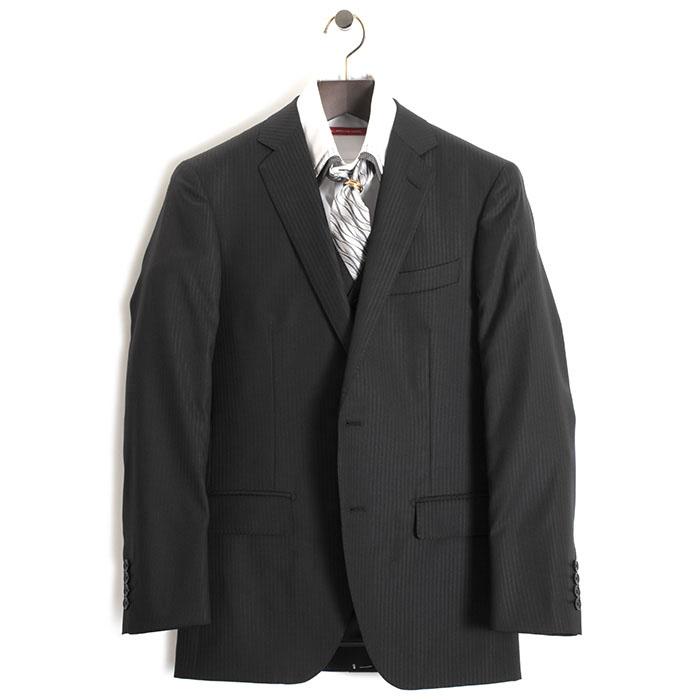 展示品 ティノラス スーツ LLサイズ ストライプスーツ スリーピース TENORAS 黒・微光沢(ブラック) te5020 メンズ 紳士