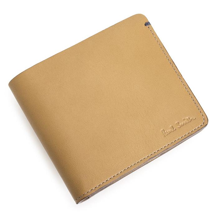 ポールスミス 財布 二つ折り財布 キャメル/紺(ネイビー) Paul Smith psu713-75 メンズ 紳士 【送料無料】