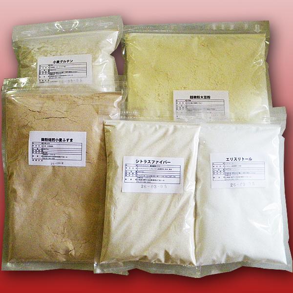お買い得5点セット/約10斤分 ×3セットチャック付き 大豆粉1kg 焙煎ふすま500g 小麦グルテン1kg エリスリトール500g シトラスファイバー250g
