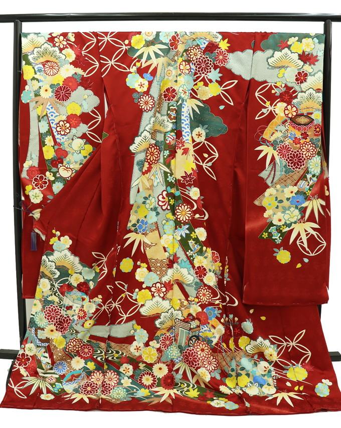 ★【下見OK】未仕立て新品振袖☆仮絵羽◎赤系・地紋入り 花爛漫に松◆【日本人の肌色に合う赤♪】