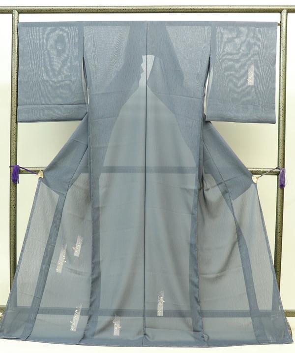 【絽 夏きもの】★未仕立て 新品訪問着☆正絹◆仮絵羽◎グレー系 部分刺繍
