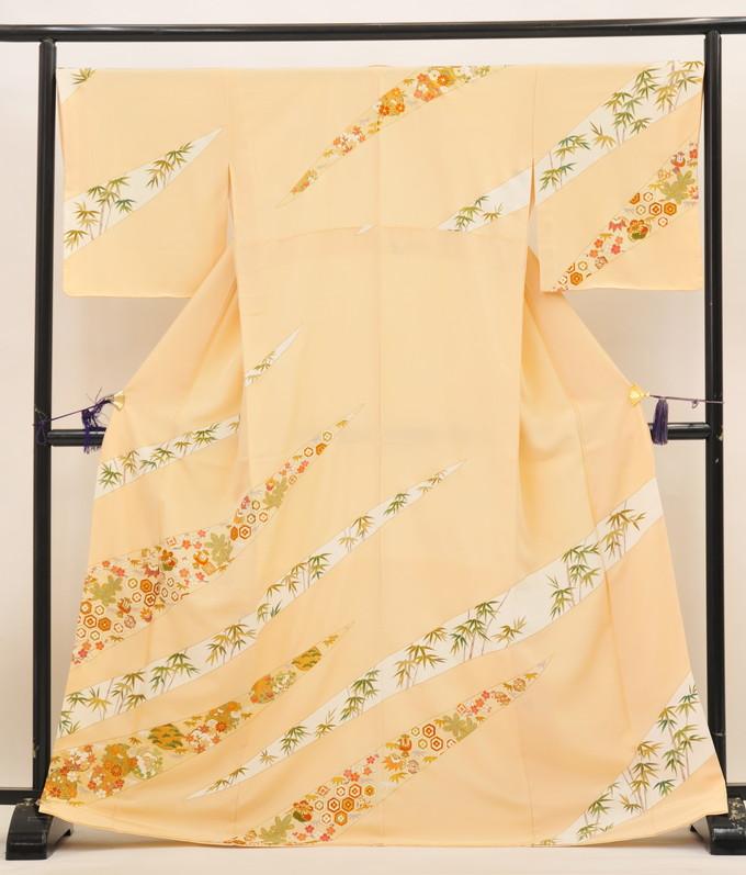 京友禅染 手描き訪問着【新品 お仕立て上がり】◆薄橙色/【手縫い】吉祥文様