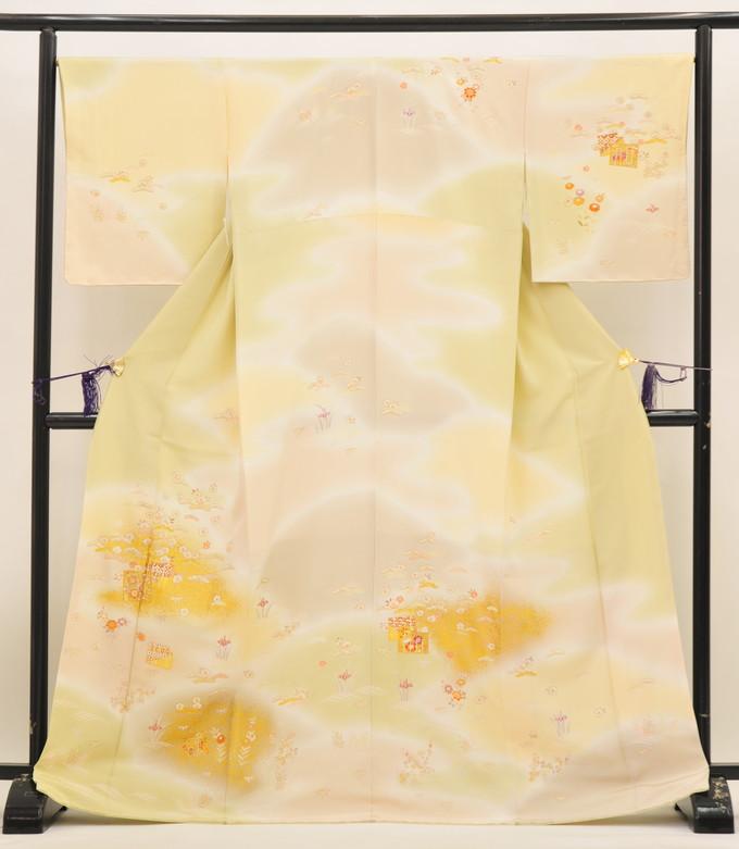 京友禅染 手描き訪問着【新品 お仕立て上がり】◆薄抹茶色/【手縫い】桜に松