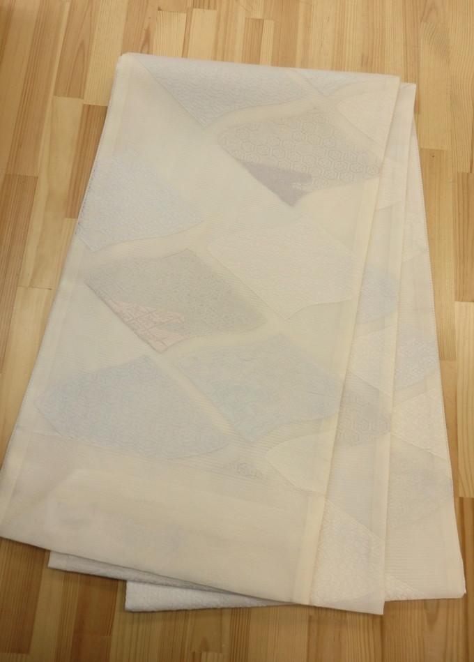 夏用袋帯◇袋帯【新品◇お仕立て付き】オフホワイト◇【田中義織物(株)】古典調  上品な柄裄