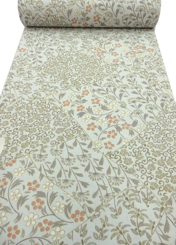 【東レシルック】反物◇小紋 着尺◆薄水色地 季節の花◆ 巾約38.5cm