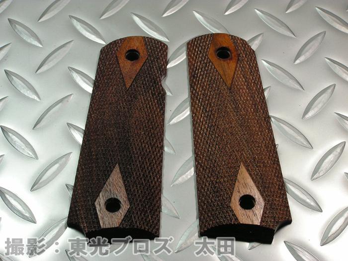 送料無料CAW M1911ガバメント用 木製グリップ ダイヤチェッカー東京マルイ WA マルゼン KSC等のガスガンxodCrBe