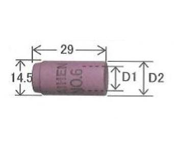 TIGノズル ハイアンカップ ダイヘン TIG溶接用ノズル H36K22(No.6)5個入り