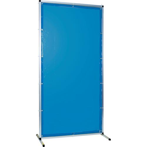 遮光フェンス トラスコ(TRUSCO)小型溶接遮光フェンス 青 TYAF-2020-B 単体型・アルミ製 固定足タイプ 遮光カーテン
