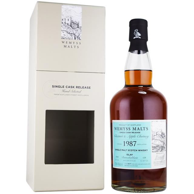 【リッチなウイスキー、海の辛さにシェリー、アイラ島】ブナハーブン 1987 約31年 ウィームス 46% 700ml