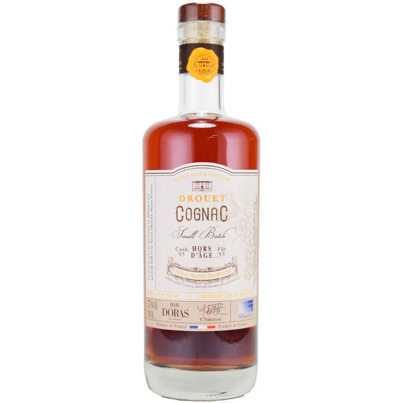 【濃厚で瑞々しいブドウ感の中に複雑なウッディさ、酸のあるハイカカオチョコレート】ドルーエ 1993 26年 for BAR DORAS and Whisk-e 57% 700ml