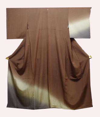 正絹付け下げきもの(P)美品です茶と渋い黄土色とこげ茶のぼかしグラディーション模様身幅ゆったりサイズ 背1っ紋送料無料中古