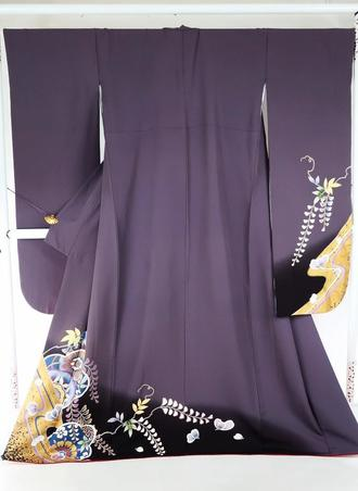 正絹お振袖着物 NO17美品仕立て上がりお振袖着物渋紫色地に個性ある草花模様トールサイズ送料無料【中古】