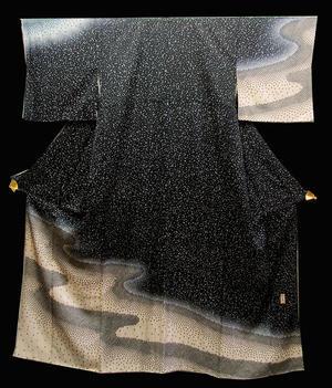 正絹訪問着きもの(O)黒と白のモノトーン「雪化粧」模様かな送料無料【smtb-TD】【yokohama】【中古】10P27Sep14