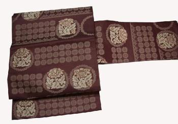 正絹九寸名古屋帯 NO5薄あずき地に正倉院紋様仕立て上がり帯送料無料