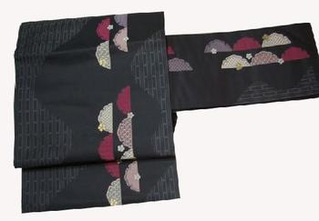 正絹九寸名古屋帯 NO10紫がかった墨地に珍しい半雪割り柄仕立て上がり帯送料無料10P27Sep14