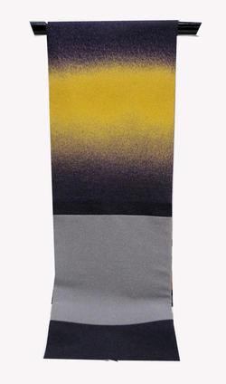 よよぎやオリジナル名古屋帯 NO2渋く深みのある紫と辛子色ボカシのコラボ柄縮緬ポリエステル100%仕立て上がり帯送料無料早い者勝ち