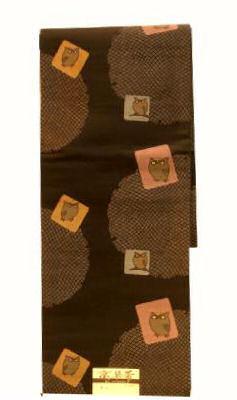 洗える京袋帯 NO19あかぬけたフクロウの帯仕立て上がり京袋帯送料無料【smtb-TD】【yokohama】