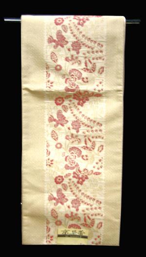 洗える!京袋帯 NO20白に近いベージュ地に両サイドふくれ絞り織に草花模様仕立て上がり京袋帯【送料無料】【smtb-TD】【yokohama】