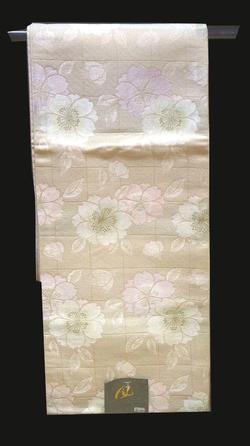 洗える京袋帯 NO5淡いピンクと白の下地に薄い格子模様に八重桜満載模様仕立て上がり京袋帯送料無料【smtb-TD】【yokohama】
