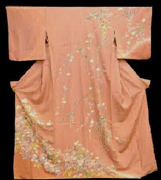新品 正絹訪問着 NO1重めローズ色花柄模様送料無料