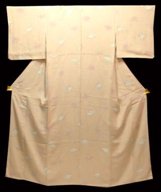 仕立て上がり正絹小紋きもの NO12肌色地に花柄模様新品送料無料【smtb-TD】【yokohama】10P27Sep14