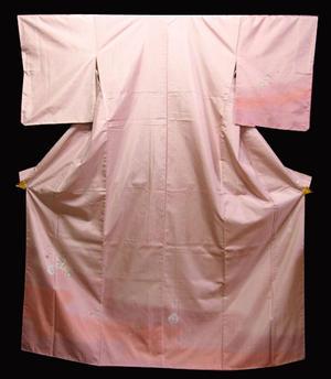 新品 正絹大島紬染め訪問着 ローズ色裾模様に丸紋花模様送料無料【smtb-TD】【yokohama】