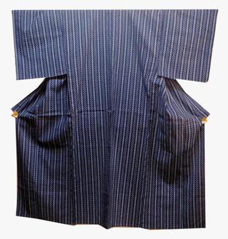 三勝染め 男ゆかたNO2紺とブルーの吉原つなぎと細かい菱型に縞柄LLサイズ店長おすすめ!送料無料